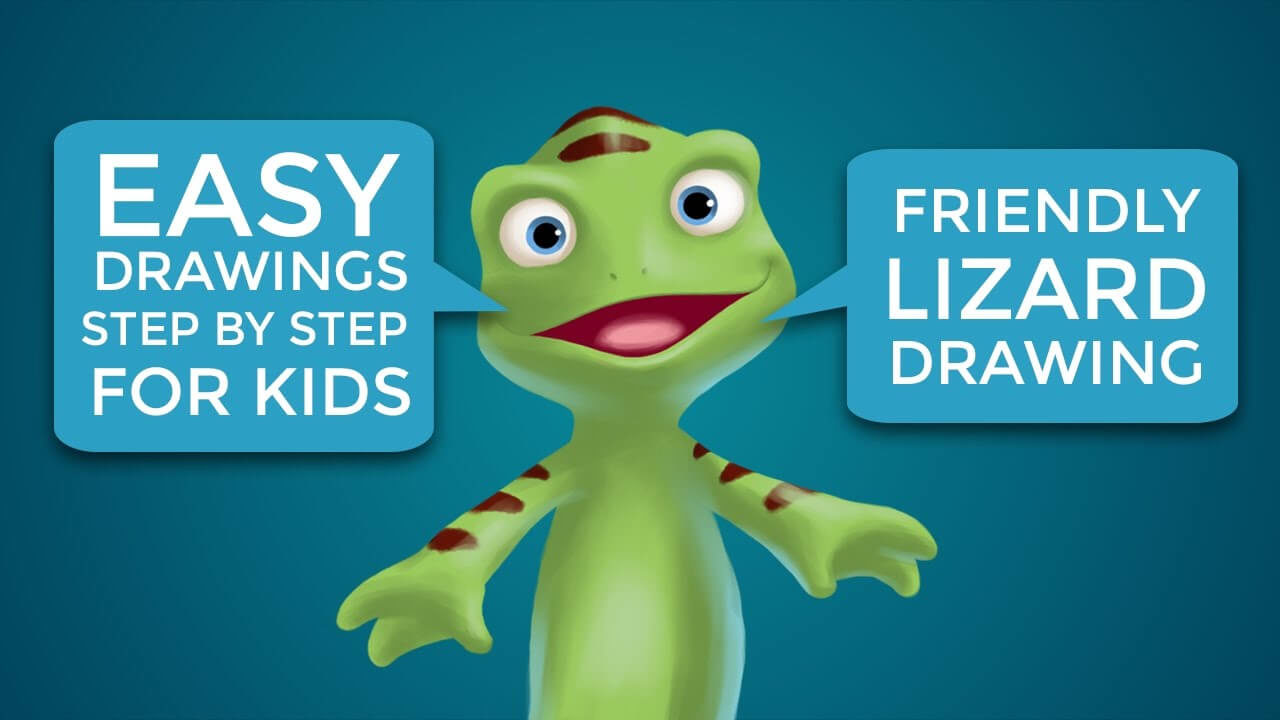 Easy Drawings Step By Step For Kids Friendly Lizard Drawing